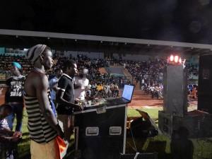 geluid en licht in stadion